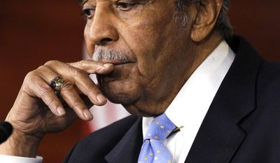FILE - In this Dec. 2, 2010 file photo, Rep. Charles Rangel, D-N.Y., speaks to the media after he was censured by the House, on Capitol Hill in Washington. After a 46-year Congressional career, Rangel is retiring. (AP Photo/Alex Brandon, File)