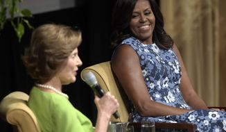 "FILE - In this Sept. 16, 2016, file photo, first lady Michelle Obama listens as former first lady Laura Bush speaks during the ""America's First Ladies: In Service to Our Nation"" conference at the National Archives in Washington. When Michelle Obama considered the daunting prospect of becoming first lady, she purposely avoided turning to books by her predecessors for guidance. Instead, she turned inward (AP Photo/Susan Walsh, file)"
