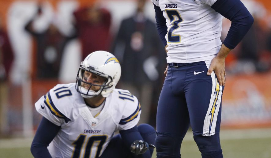 San Diego Chargers kicker Josh Lambo (2) hangs his head down after missing a 45-yard field goal in the fourth quarter of an NFL football game against the Cleveland Browns, Saturday, Dec. 24, 2016, in Cleveland. Kellen Clemens (10) watches. The Browns won 20-17. (AP Photo/Ron Schwane)