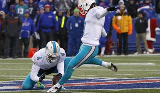 Miami Dolphins' Andrew Franks (3) kicks a field goal to tie the game during the second half of an NFL football game against the Buffalo Bills, Saturday, Dec. 24, 2016, in Orchard Park, N.Y. (AP Photo/Bill Wippert)