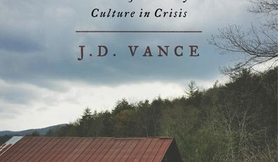 """FILE - This book cover file image released by HarperCollins Publishers shows """"Hillbilly Elegy: A Memoir of a Family and Culture in Crisis,"""" by J.D. Vance. After writing about the problems facing people he grew up with, best-selling author Vance is going back to his home state to help do something about it. """"Hillbilly Elegy"""" is about his life in the Ohio Rust Belt city of Middletown and also in rural Kentucky. It's among the year's top nonfiction books and drew attention because of Vance's insights into Donald Trump and the white working class. Vance is starting a nonprofit to address issues such as upward mobility and the opioid crisis. (HarperCollins Publishers via AP, File)"""