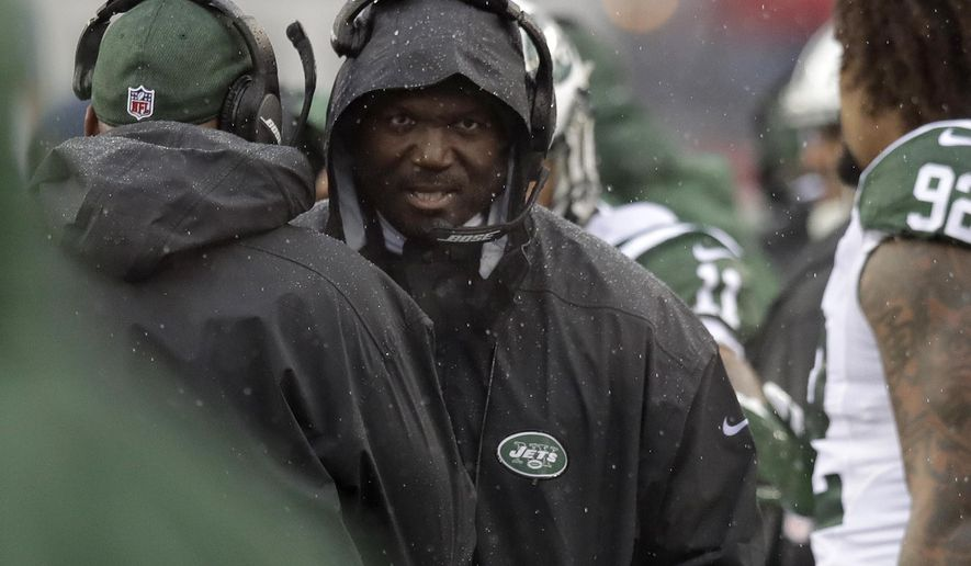 New York Jets head coach Todd Bowles walks on the sideline during the first half of an NFL football game against the New England Patriots, Saturday, Dec. 24, 2016, in Foxborough, Mass. (AP Photo/Charles Krupa)