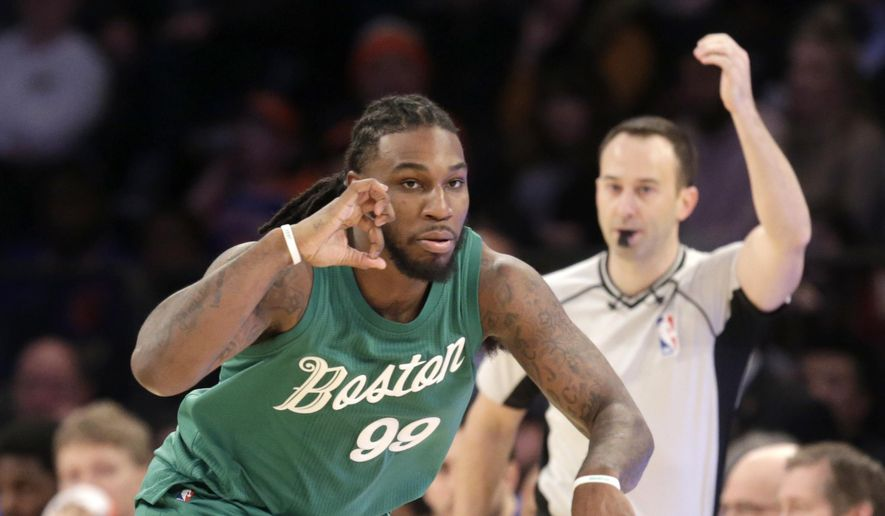 Boston Celtics' Jae Crowder reacts after hitting a three-point basket during the first half of the NBA basketball game against the New York Knicks, Sunday, Dec. 25, 2016 in New York. (AP Photo/Seth Wenig)