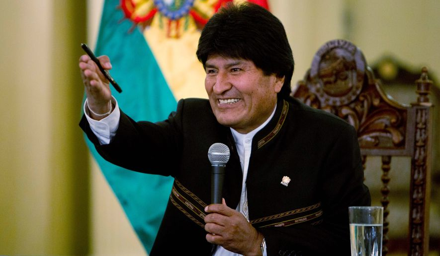"""Bolivian President Evo Morales has been nurturing what critics say is an environment conducive to one-party rule. He calls it an """"irreversible process of change"""" and insists he is just the honoring the wishes of his supporters to stay on for the 2019 vote. (Associated Press)"""