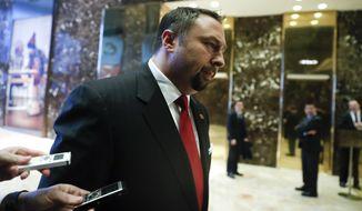 Jason Miller resigned as President-elect Donald Trump's White House communications adviser on Christmas Eve. (Associated Press)