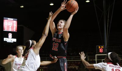 FILE- In this Jan. 8, 2016, file photo, Utah forward Emily Potter (12) shoots against Stanford during the first half of an NCAA college basketball game in Stanford, Calif. Utah beat Northern Arizona 78-65 on Wednesday, Dec. 21, as junior forward Emily Potter scored the 1,000th point of her career in the win. (AP Photo/Marcio Jose Sanchez, File)