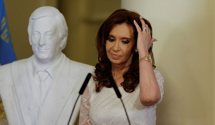 An Argentine judge indicted former President Cristina Fernandez on Tuesday, on corruption and conspiracy charges, putting a kink in her political comeback hopes just months before Argentina's midterm elections. (Associated Press)