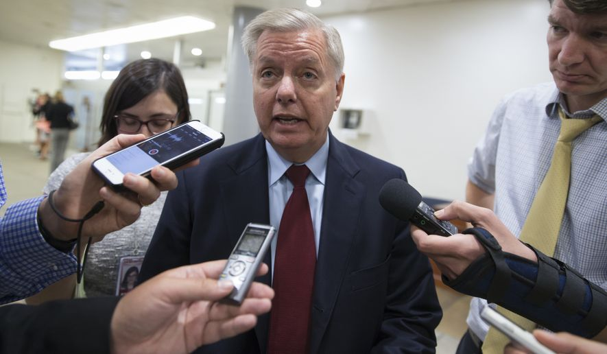 """Twenty-two percent of the United Nations budget comes from the American taxpayer, and I'm going to lead the charge to withhold funding until they repeal this resolution,"" said Sen. Lindsey Graham, South Carolina Republican. (Associated Press)"