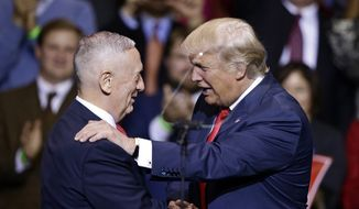 Then-President-elect Donald Trump introduces retired Marine Corps Gen. James Mattis as his appointed secretary of defense while speaking to supporters during a rally in Fayetteville, N.C., on Dec. 6, 2016. (Associated Press) ** FILE **
