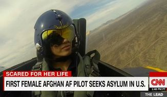 Captain Niloofar Rahmani, the first female fixed-wing Afghan Air Force, has attempted to obtain asylum in the U.S. for 15 months due to threats by the Taliban and extended family members. (CNN screenshot)