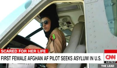 Captain Niloofar Rahmani, the first female fixed-wing Afghan Air Force pilot in the history of Afghanistan, seeks asylum in the U.S. (CNN screenshot)