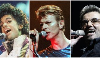 This photo combination shows performances by pop music icons, from left, Prince in 1985, David Bowie in 1995, and George Michael in 2008. The entertainers were among a number of influential entertainers, sports stars and political figures who died in 2016. (AP Photos)
