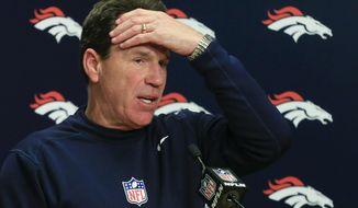 FILE - In a Sunday, Dec. 18, 2016 file photo, Denver Broncos head coach Gary Kubiak talks during a news conference after their loss against the New England Patriots in an NFL football game, in Denver. Denver's five-year playoff run that featured two Super Bowl trips came crashing to a halt with a late-season slide that revealed both flaws in the foundation and fissures in the locker room.  (AP Photo/Jack Dempsey, File)