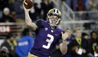 FILE - In a Friday, Dec. 2, 2016 file photo, Washington quarterback Jake Browning (3) throws against Colorado during the first half of the Pac-12 Conference championship NCAA college football game, in Santa Clara, Calif. Browning and wide receiver John Ross are the biggest names on the high-scoring offense which powered Washington to a playoff spot against Alabama in Saturday's Peach Bowl, but running back Myles Gaskin has helped provide balance that makes the Huskies a good test for the Crimson Tide's top-ranked defense. (AP Photo/Marcio Jose Sanchez, File)