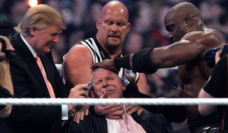 """Donald Trump's involvement in the """"Battle of the Billionaires"""" with Vince McMahon in 2007's WrestleMania made it a commercial success — the second-most watched WWE pay-per-view in history. (Associated Press)"""