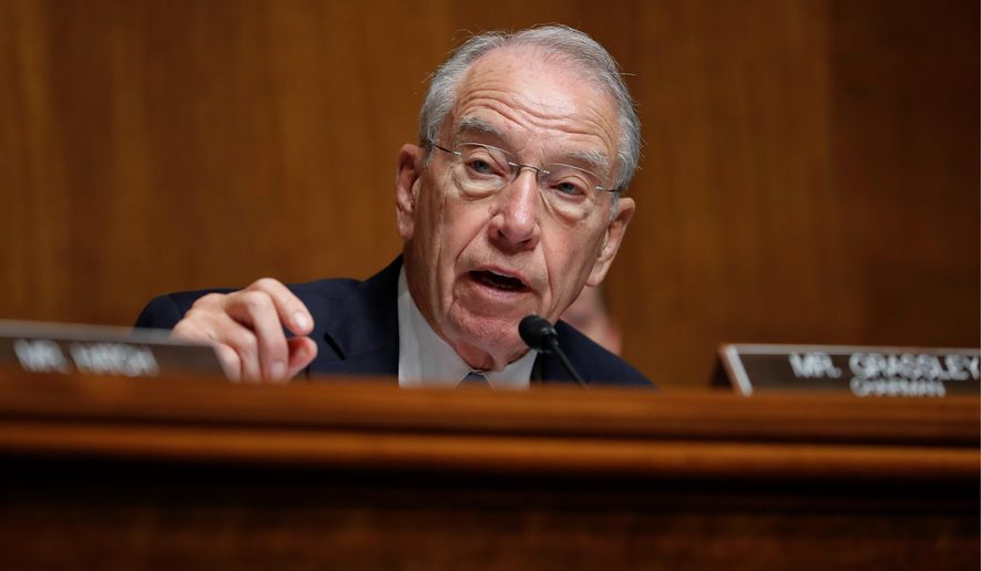 Senate Judiciary Committee Chairman Sen. Chuck Grassley. (Associated Press) ** FILE **