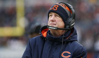 FILE - In this Saturday, Dec. 24, 2016, file photo, Chicago Bears head coach John Fox watches against the Washington Redskins during the first half of an NFL football game in Chicago. Fox has proven his turnaround skills with Carolina and Denver, getting both to Super Bowls. (AP Photo/Nam Y. Huh, File)