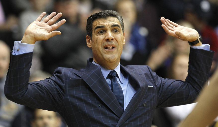 Villanova coach Jay Wright shouts from the sidelines during the first half of the team's NCAA college basketball game against DePaul, Wednesday, Dec. 28, 2016, in Villanova, Pa. (AP Photo/Laurence Kesterson)
