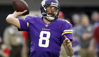 FILE - In a Dec. 18, 2016 file photo, Sam BradfordMinnesota Vikings quarterback Sam Bradford throws during the first half of an NFL football game against the Indianapolis Colts, in Minneapolis. Lost in the chaos of Minnesota's collapse was a fine first season with the Vikings by Bradford, despite a leaky offensive line in front of him.(AP Photo/Charlie Neibergall, File)