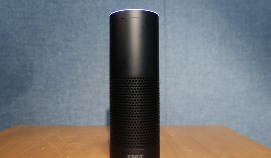 """This July 29, 2015, file photo shows Amazon's Echo speaker, which responds to voice commands, in New York. A prosecutor investigating the death of a man whose body was found in a hot tub wants to expand the probe to include a potential new kind of evidence: the suspect's Amazon Echo smart speaker. Amazon has called the request """"overbroad or otherwise inappropriate."""" (AP Photo/Mark Lennihan, File)"""