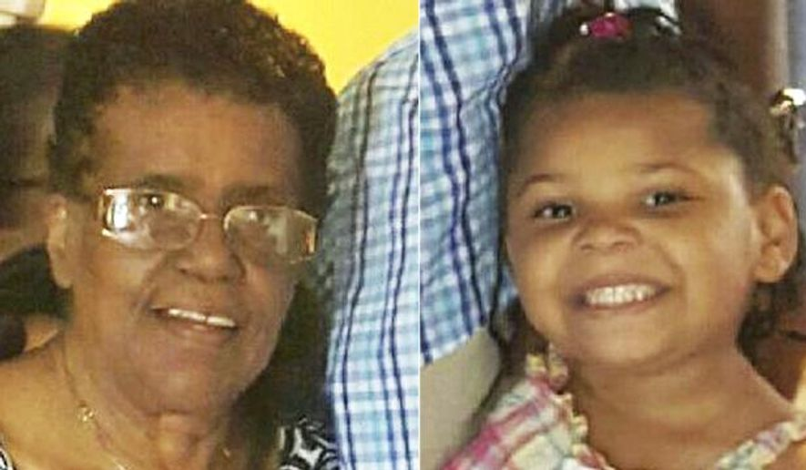 This combination of photos released by the Hamilton Police Department in New Jersey shows Barbara Briley, left, and her 5-year-old great-granddaughter La'Myra Briley. Officers scoured hotels, businesses, rest areas and trucks stops across a large swath of Virginia in the search for the pair, who vanished during a holiday road trip to see family. (Hamilton Police Department via AP)