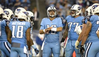 FILE - In this Oct. 27, 2016, file photo, Tennessee Titans quarterback Matt Cassel (16) huddles with teammates during an NFL football game against the Jacksonville Jaguars in Nashville, Tenn. With starting quarterback Marcus Mariota out with a broken right fibula, Cassel will make his first start of his 12th NFL season in the Titans' season finale on Sunday against the Houston Texans. (AP Photo/Mark Zaleski, File)