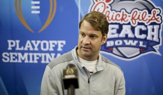 Alabama offensive coordinator Lane Kiffin attends media day for Saturday's Peach Bowl NCAA college football game against Washington in Atlanta, Thursday, Dec. 29, 2016. (AP Photo/David Goldman)