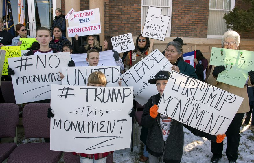 Protesters demonstrate against the new Bears Ear National Monument in Montecello, Utah, Thursday, Dec. 29, 2016. President Barack Obama expanded his environmental legacy in the final days of his presidency with national monument designations on lands in Utah and Nevada that have become flashpoints over use of public land in the U.S. West.  The Bears Ears National Monument in Utah will cover over 1 million acres in the Four Corners region, the White House announced Wednesday.  (Rick Egan/The Salt Lake Tribune via AP) **FILE**