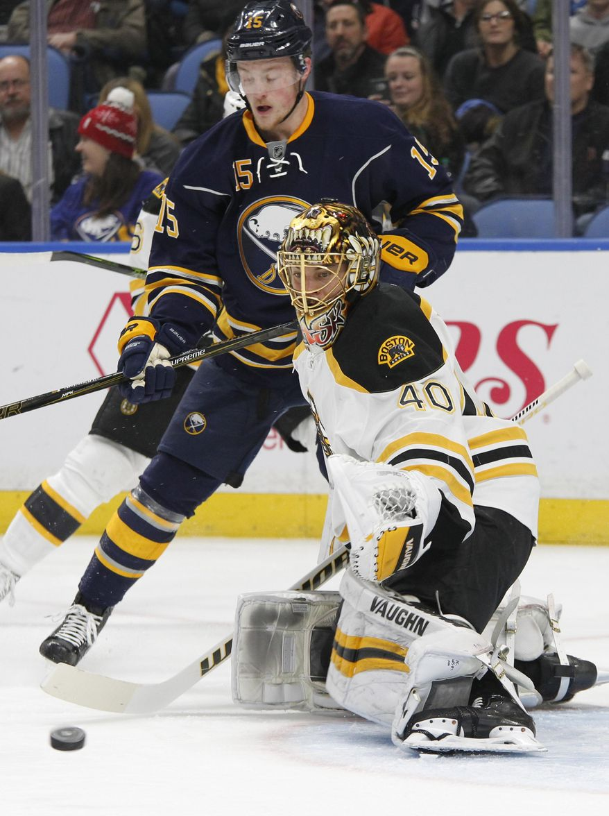 Buffalo Sabres forward Jack Eichel (15) is stopped by Boston Bruins goalie Tuukka Rask (40) during the first period of an NHL hockey game, Thursday, Dec. 29, 2016, in Buffalo, N.Y. (AP Photo/Jeffrey T. Barnes)