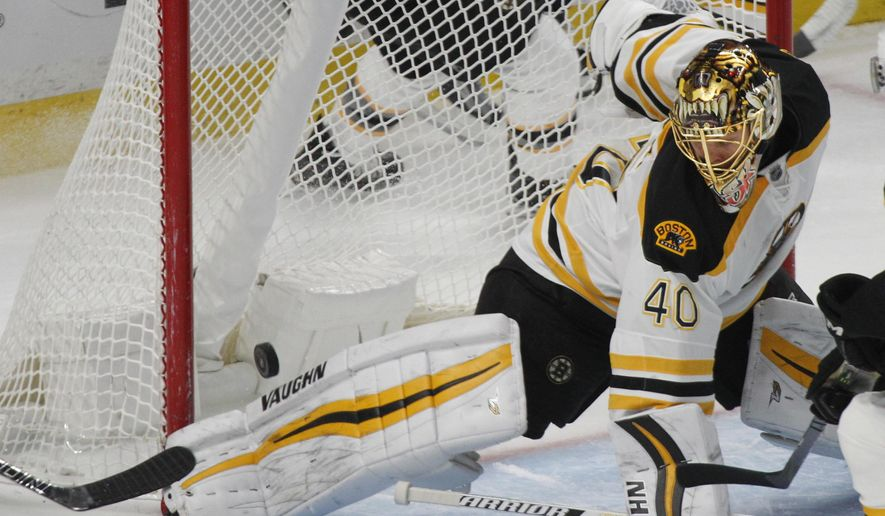 Boston Bruins goalie Tuukka Rask (40) makes a pad-save during the second period of an NHL hockey game against the Buffalo Sabres, Thursday, Dec. 29, 2016, in Buffalo, N.Y. (AP Photo/Jeffrey T. Barnes)