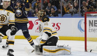 Buffalo Sabres forward Matt Moulson (26) celebrates the puck getting past Boston Bruins goalie Tuukka Rask (40) during the first period of an NHL hockey game, Thursday, Dec. 29, 2016, in Buffalo, N.Y. (AP Photo/Jeffrey T. Barnes)