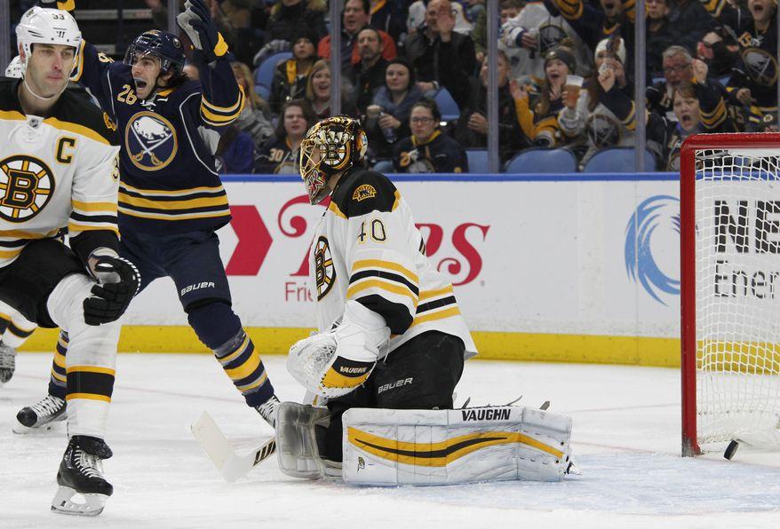 Buffalo Sabres forward Matt Moulson (26) celebrates the puck getting past Boston Bruins goalie Tuukka Rask (40) during the first period of an NHL hockey game, Thursday, Dec. 29, 2016, in Buffalo, N.Y. (AP Photo/Jeffrey T. Barnes)