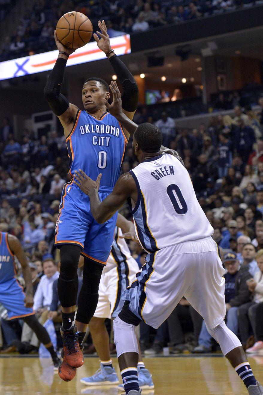 Oklahoma City Thunder guard Russell Westbrook shoots against Memphis Grizzlies forward JaMychal Green in the first half of an NBA basketball game Thursday, Dec. 29, 2016, in Memphis, Tenn. (AP Photo/Brandon Dill)