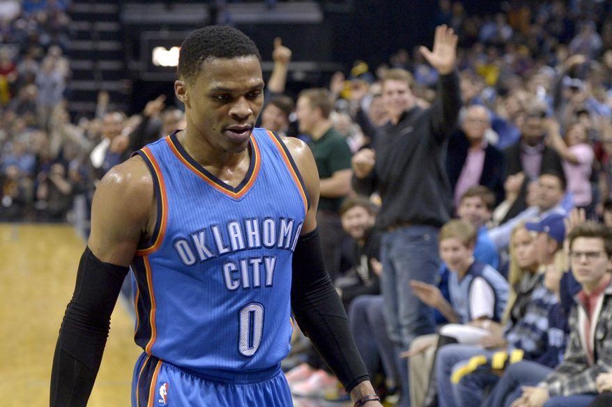 Oklahoma City Thunder guard Russell Westbrook (0) walks off the court after being ejected for committing two technical fouls in the second half of an NBA basketball game against the Memphis Grizzlies Thursday, Dec. 29, 2016, in Memphis, Tenn. (AP Photo/Brandon Dill)