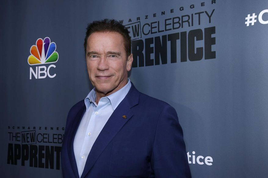 """This Dec. 9, 2016, image released by NBC shows Arnold Schwarzenegger, the new boss of """"The New Celebrity Apprentice,"""" at a press junket in Universal City, Calif. The latest season will premiere on Jan. 2, 2017. (Paul Drinkwater/NBC via AP)"""