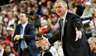 Butler head coach Chris Holtmann reacts from the sideline against the St. John's during an NCAA college basketball game in New York, Thursday, Dec. 29, 2016. (Steven Ryan/Newsday via AP)