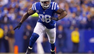 FILE - In this Nov. 29, 2015, file photo, Indianapolis Colts outside linebacker Robert Mathis (98) lines up against the Tampa Bay Buccaneers during an NFL football game in Indianapolis. The Colts play the Jacksonville Jaguars in the season finale Sunday, Jan. 1, 2017. (AP Photo/Jeff Haynes, File)