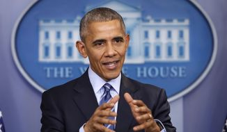 In this photo taken Dec. 16, 2016, President Barack Obama speaks during a news conference in the briefing room of the White House in Washington. President Barack Obama has imposed sanctions on Russian officials and intelligence services in retaliation for Russia's interference in the U.S. presidential election by hacking American political sites and email accounts. (AP Photo/Pablo Martinez Monsivais)