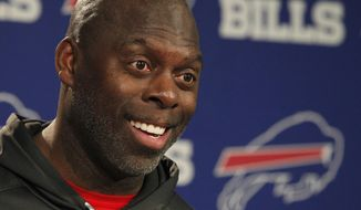 FILE - In a Wednesday, Dec. 28, 2016 file photo, Buffalo Bills offensive coordinator Anthony Lynn addresses the media after he was named interim head coach following the firing of head coach Rex Ryan, in Orchard Park, N.Y. Lynn, will make his head coaching debut Sunday, Jan. 1, 2017, at MetLife Stadium against the New York Jets as the interim and is expected to be in the running for the job this offseason. (AP Photo/Jeffrey T. Barnes, File)