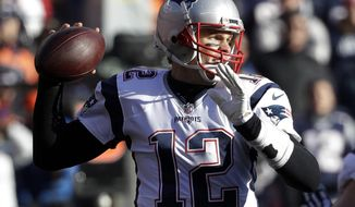FILE - In a Sunday, Dec. 18, 2016 file photo, New England Patriots quarterback Tom Brady passes against the Denver Broncos during the first half of an NFL football game, in Denver. With a victory Sunday, Jan. 1, 2017, at Miami, the Patriots would improve to 8-0 in away games and clinch postseason home-field advantage.(AP Photo/Jack Dempsey, File)