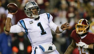 FILE - In a Monday, Dec. 19, 2016 file photo, Carolina Panthers quarterback Cam Newton (1) passes the ball during the first half of an NFL football game against the Washington Redskins in Landover, Md. Panthers coach Ron Rivera said Cam Newton is expected to start against the Bucs on Jan. 1 despite a sore right shoulder. (AP Photo/Mark Tenally, File)