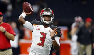 FILE - In this Saturday, Dec. 24, 2016 file photo, Tampa Bay Buccaneers quarterback Jameis Winston (3) warms up before an NFL football game against the New Orleans Saints in New Orleans. Tampa Bay's slender playoff prospects are not foremost on Jameis Winston's mind heading into what's likely to be his team's season finale against the Carolina Panthers. (AP Photo/Butch Dill, File)