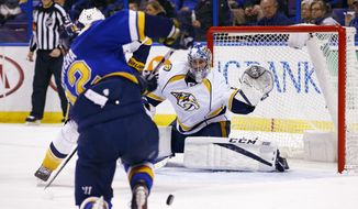 St. Louis Blues' Jori Lehtera, of Finland, shoots on Nashville Predators goalie Juuse Saros, of Finland, during the second period of an NHL hockey game Friday, Dec. 30, 2016, in St. Louis. (AP Photo/Billy Hurst)