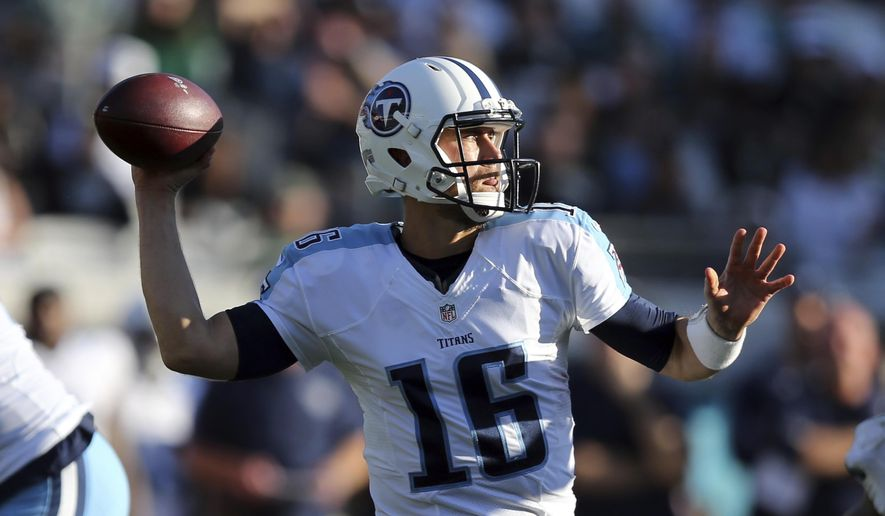 FILE - In this Dec. 24, 2016 file photo, Tennessee Titans quarterback Matt Cassel plays against the Jacksonville Jaguars in an NFL football game in Jacksonville, Fla. With starting quarterback Marcus Mariota out with a broken right fibula, Cassel will make his first start of his 12th NFL season in the Titans' season finale on Sunday against the Houston Texans. (AP Photo/Gary McCullough, File)