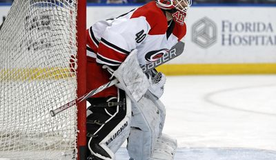 Carolina Hurricanes equipment manager Jorge Alves warms up after signing a contract to dress as an emergency backup for the NHL hockey team's game against the Tampa Bay Lightning on Saturday, Dec. 31, 2016, in Tampa, Fla. (AP Photo/Mike Carlson)