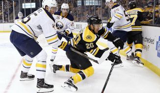 Buffalo Sabres' Jack Eichel (15) battles Boston Bruins' Riley Nash (20) during the second period of an NHL hockey game in Boston, Saturday, Dec. 31, 2016. The Bruins won 3-1. (AP Photo/Michael Dwyer)