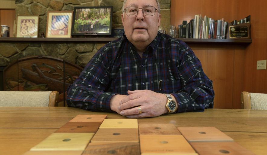 In this Wednesday, Dec. 14, 2016 photo, Bond Starker poses for a photograph featuring square-shaped samples of the different trees his company harvests in Philomath, Ore. The lineup includes Oregon White Oak, Golden Chinquapin, Ponderosa Pine, Western Red Cedar, Cotton Wood, Big Leaf Maple, Pacific Madrone, Western Hemlock, Red Alder, Alaska Cedar, Douglas Fir, and Pacific Yew. Starker is retiring as CEO of Starker Forests, the Philomath-based timber company founded by his grandfather more than 80 years ago. (Godofredo Vasquez/Albany Democrat-Herald via AP)