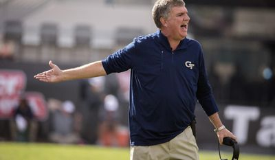 Georgia Tech head coach Paul Johnson yells during the first half of the TaxSlayer Bowl NCAA college football game against Kentucky, Saturday, Dec. 31, 2016, in Jacksonville, Fla. (AP Photo/Stephen B. Morton)