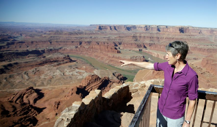 Interior Secretary Sally Jewell looks from Dead Horse Point, near Moab, Utah, where President Obama designated one of two national monuments Wednesday, that have become key flash points over use of public land in the U.S. West. (Associated Press)