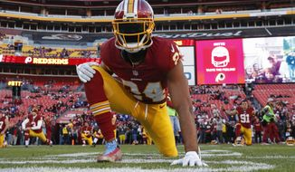 Washington Redskins cornerback Josh Norman (24) warms up before an NFL football game against the New York Giants in Landover, Md., Sunday, Jan. 1, 2017. (AP Photo/Alex Brandon)